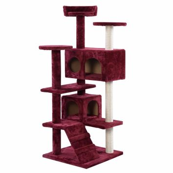 5 Tier Cat Tree in Burgundy