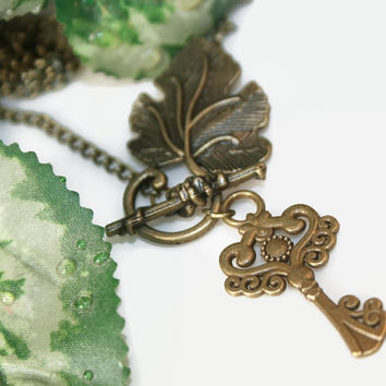 Key & Leaf Charm Necklace, Bronze Chain Long Necklace, Vintage Inspired Jewelry, Boho Style, Bohemian, Statement Jewelry, Gifts for Her