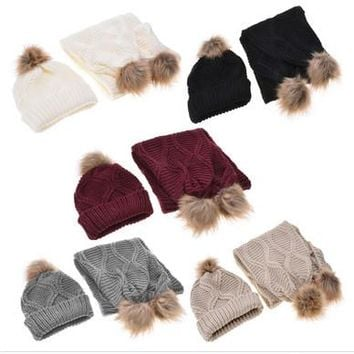 Pompom Stretchy Cable Knit Beanie Skully Cap Warm Soft Hats Scarf Set