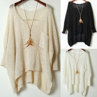 A 082201 Simple Round Neck Sweater Loose Bat Perspective from MegaFashion