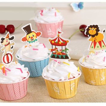 50pcs/lot circus Theme Party Supplies Cartoon Cupcake Topper fix color Kids Boy Birthday Party Decorations