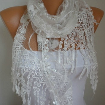 White Lace Scarf - shawl scarf  - Bridesmaid gift  - fatwoman