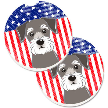 American Flag and Schnauzer Set of 2 Cup Holder Car Coasters BB2136CARC