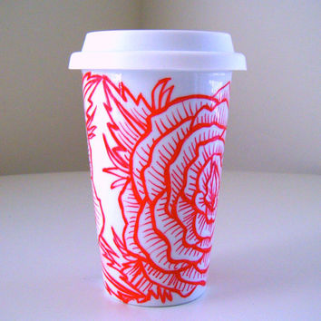 Ceramic Travel Mug Roses Flower Tattoo Red White Eco Cup with lid hand painted by sewZinski on Etsy
