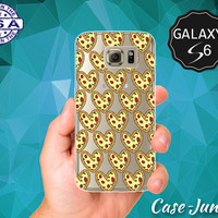 Pizza Heart Funny Food Pattern Cute Foodie Tumblr Inspired Case for Clear Rubber Samsung Galaxy S6 and Samsung Galaxy S6 Edge Clear Cover