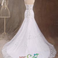 Strapless sleeveless floor-length organza with appliques with beads sashes wedding dress