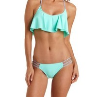 Tribal Print Caged Flounce Bikini Top by Charlotte Russe - Mint