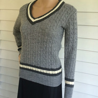 Gray Cable Sweater Jumper Pullover Grey Striped Acrylic Collage XS S