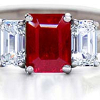 2.46ct Square Ruby Diamond Engagement Ring JEWELFORME BLUE