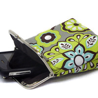 IPhone 5 Case / Fabric Cigarette Case - 5, 4, 4S, 3GS, Large Cell Phone - Gray cotton with Neon Green and Aqua Flowers - Silver Frame