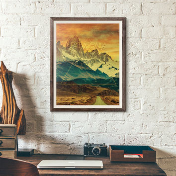 Wanderlust Poster, Patagonia poster, landscape art,  travel decor, Road Trip