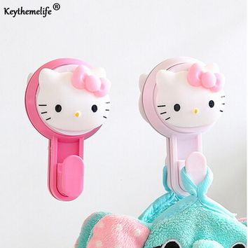 Keythemelife 1pcs Hello kitty No trace Style Wall Towel Rack Kitchen Bathroom Hook Up Plastic Storage Rack Rag Hanging 2C