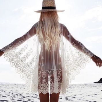 SEXY WHITE LACE BEACH DRESS