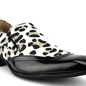 New Men's 99525 Exotic Print Faux Pony Hair Loafer Shoes