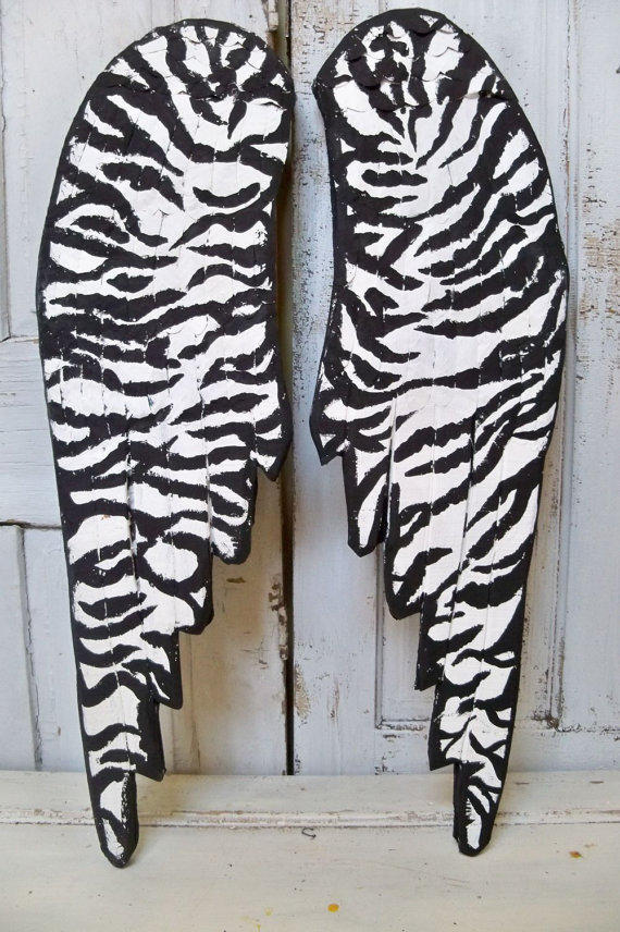 Large zebra print wings hand painted wall from anitasperodesign