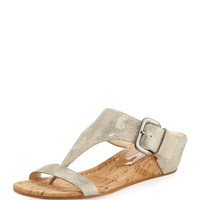 Doli Buckled Demi-Wedge Slide, Bronze