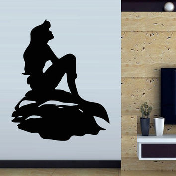 Wall decal art decor decals sticker mermaid sea ocean world tail girl fish cartoon water nursery (m852)