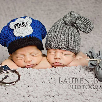 Crochet cop hat, police officer baby hat, newborn photo prop, police cap, Policeman hat for baby, infant cop hat, children clothing