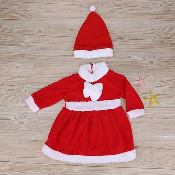 Christmas Baby Girl Clothes Set Infant Santa Claus Costume Dress + Hat Outfits Infant Kids Clothing for Girls