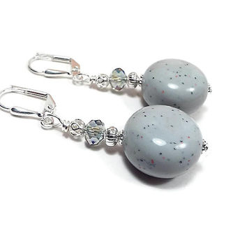 Light Blue Earrings, Blue Gray, Drop Earrings, Made with Confetti Lucite Vintage Beads, Spring Jewelry, Clip on Earrings Lever Back Hook