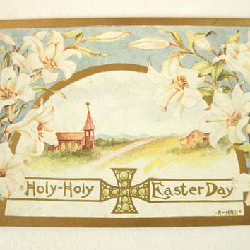 1800s Victorian Holy Holy Easter Day Postcard // Penny Stamp // Antique Gold Metallic Details NOS