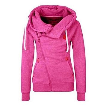New Arrival Women's Hooded Side Zip Pullover Sweatshirts Top Hoodie Coat Jacket