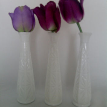Milk Glass Bud Vases Set Of Three Matching