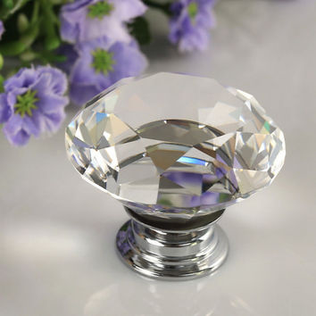 1pcs 30mm Diamond Crystal Glass Alloy Door Drawer Manual Handle Bar Cabinet Wardrobe Pull Handle Knobs