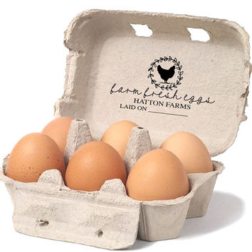 Chicken Egg Carton Stamp - Farm Fresh Eggs Stamp - Chicken Coop Egg Carton Labels - Custom Egg Carton Tag - Backyard Chicken Stamp-Laid Date
