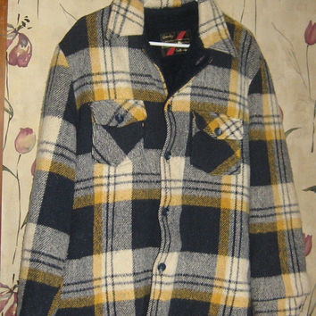 retro CPO Jacket Sears The mens store 60s Pile Lined plaid Vintage WARM