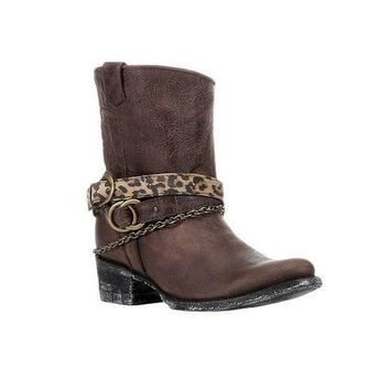 ICIKAB3 Corral Brown Mixed Strap Leather Boots C2805