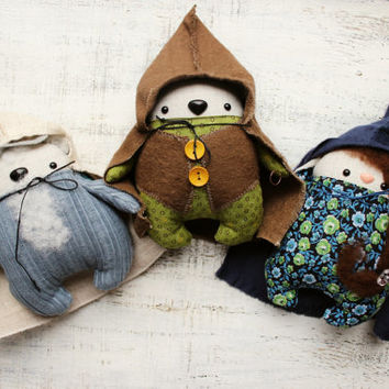 Lord of the Rings stuffed toys set of 3 soft stuffed toys Fatsy Petsy hobbit Frodo Baggins Gandalf Arven Elf brown green grey blue