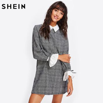 SHEIN Contrast Tied Bell Cuff and Collar Plaid Straight Dress Black and White Contrast Collar Long Sleeve Color Block Dress