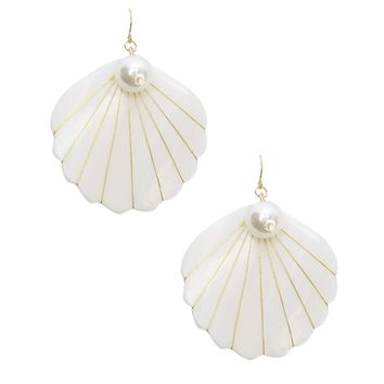 Iridescent Shell Drop Earrings