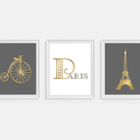 Paris Art Prints, Eiffel Tower Print, Bicycle Art, Faux Gold Art,Set of 3 Prints, Paris Wall Art, Paris France, Wall Art, Home Decor