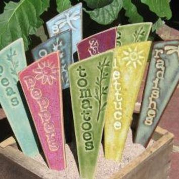Veggie Garden Stakes / Plant Markers  A Set of by fromArtisanHands