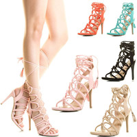 Womens Strappy Gladiator Loop Lace Up Stiletto High Heel Open Toe Pump Sandal US