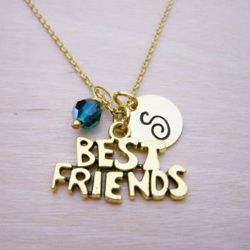 Best Friends Necklace - Gold Initial Necklace - Birthstone Necklace - Gold Initial Disc Necklace - Personalized Necklace - Initial Charm