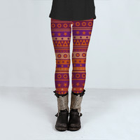 Orange and Purple Stripy Pattern by Hippy Gift Shop (Leggings)