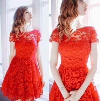 Elegance Short Sleeved Lace Dress