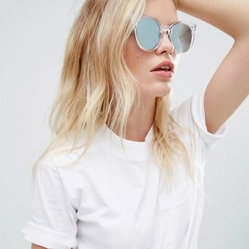 Quay Australia Like Wow Round Sunglasses In Clear/Blue at asos.com
