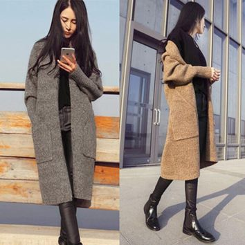 Fall and winter clothes new Korean women's fashion in the long section knit sweater cardigan sweater  Korean female