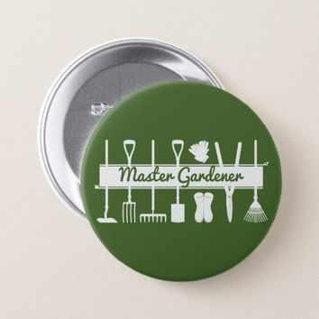 Master Gardener Simple Modern Forest Green Button