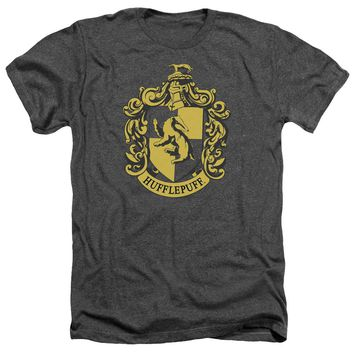 Harry Potter - Hufflepuff Crest Adult Heather Officially Licensed T-Shirt Short Sleeve Shirt