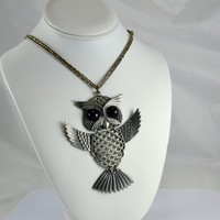 Pewter Owl Necklace - Black Cabochon Eyes - Articulated - Large 4 Inches - Mod Retro Statement Jewelry