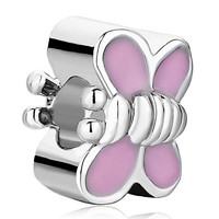 Pugster Wing Butterfly Light Pink Drip Gum Bead