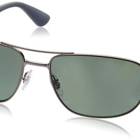 Ray-Ban Mens 0RB3528 Polarized Square Sunglasses