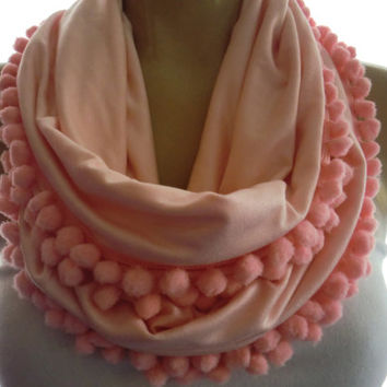 Pale Peach Pink pompom infinity scarf, cowl-Pompom Necklace Scarf,Infinity scarf with pompoms-Playful Chic