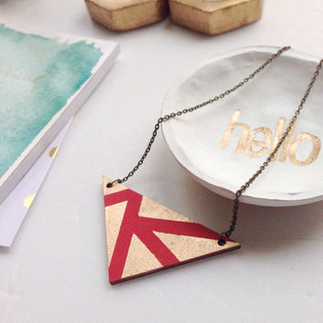 Red Triangle Necklace/Geometric Necklace/Gold and Red Necklace
