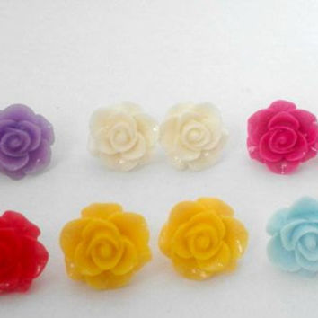 Oversized Statement Rose Flower Colour Cabochon Stud Earrings